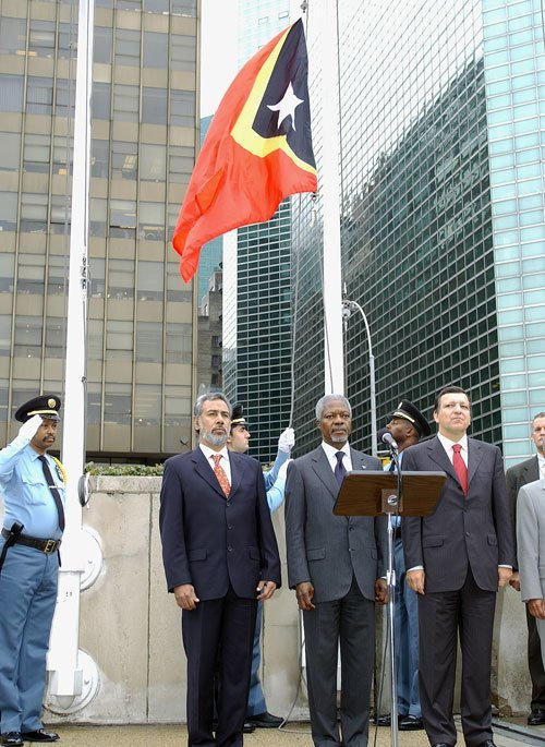 The flag of Timor-Leste is raised to join those of other Member States in a special ceremony to mark the occasion at UN Headquarters. (September 2002)