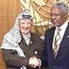 Kofi Annan with Yasser Arafat (file photo)