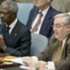 Kofi Annan et le Président du Conseil de sécurité, l'ambassadeur Wehbe
