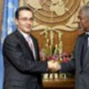 Kofi Annan et le Président Alvaro Uribe
