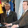 Annan with Chancellor Gerhard Schröder at press conference in Berlin
