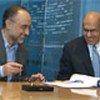 L'ambassadeur Salehi (à gauche) et Mohamed ElBaradei, de l'AIEA