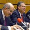 Mohamed ElBaradei (L) and US representatives