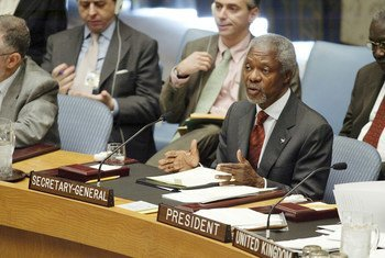Secretary-General Kofi Annan addresses UN Security Council meeting on Rule of Law and Transnational Justice in Conflict and Post-Conflict Societies.