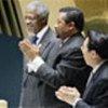 Kofi Annan reçoit une ovation des 191 Etats Membres de l'Assemblée générale