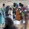 Sudanese refugees at water point in eastern Chad