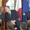 (L to R) Kofi Annan, Jacques Chirac and Tony  Blair
