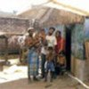 Displaced Sri Lankan family at a transitional shelter