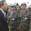 Ban Ki-moon greets UN peacekeepers