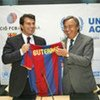 FC Barcelona President Joan Laporta and High Commissioner António Guterres