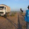 Un employé du HCR dans un camp de réfugiés au Tchad.