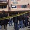 UN Police securing UNMIK Court building in Mitrovica
