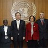 Secretary-General Ban Ki-moon (third from left) with UN staff members