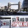 Banners against poverty in the UK (file photo)