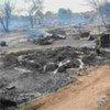 """Smouldering ashes of """"I"""" Block in Goz Amer"""
