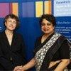 Le greffier de la CPI (à gauche) avec la représentante spéciale du Secrétaire général pour les enfants et les conflits armés, Radhika Coomaraswamy.