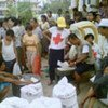 Food aid being distributed to the affected population.
