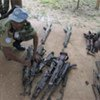 Blue helmet inspecting weapons collected from Ivorian militias (file photo)