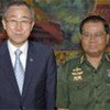 Secretary-General Ban Ki-moon and  Senior General Than Shwe, Head of State of Myanmar