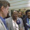 Members of Security Council delegation speak to the media in Sudan,