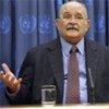 Le président de l'Assemblée générale de l'ONU, Miguel D'Escoto Brockmann.