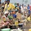 Displaced people on the grounds of a school in the Rutshuru area, North Kivu province