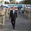 Secretary-General Ban Ki-moon (right) on a visit to UNDOF last year