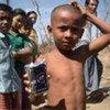 Des enfants victimes du cyclone Nargis au Myanmar.