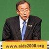 Le Secrétaire général de l'ONU, Ban Ki-moon, à l'ouverture de la 17e Conférence internationale sur le VIH/sida à Mexico, en août 2008.