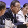 Le Secrétaire général de l'ONU Ban Ki-moon lors d'un symposium en 2008 sur le soutien aux victimes du terrorisme à l'ONU.