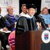 Secretary-General Ban Ki-moon addresses gathering at Fairleigh Dickinson University.