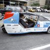 Secretary-Genetral Ban-Ki moon being driven to work by Solartaxi