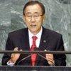 Le Secrétaire général de l'ONU Ban Ki-moon prononce son discours devant l'Assemblée générale de l'ONU.