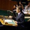 Le président français Nicolas Sarkozy devant l'Assemblée générale de l'ONU.