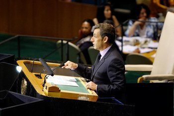President Nicolas Sarkozy of France addresses the General Assembly