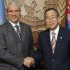 Secretary-General Ban Ki-moon with Serbia's President Boris Tadić