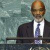 Le président haïtien René Préval devant l'Assemblée générale de l'ONU.
