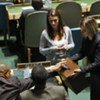 Delegates cast ballots during  election for 18 members of ECOSOC