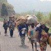Des déplacés fuyant les combats entre l'armée congolaise et les rebelles au Nord-Kivu.
