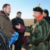UNDP Goodwill Ambassador HRH Crown Prince Haakon of Norway and Governor Jargal of the Khentii province are greeted by nomadic herder Gantuya