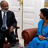 La Haute commissaire des Nations Unies pour les droits de l'homme, Navi Pillay, avec le Président haïtien René Préval.