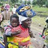Residents fleeing fighting from Kibati in the Democratic Republic of the Congo
