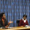 Former child soldiers from left Ishmael Beah, Grace Akallo and Kon Kelei