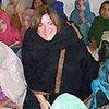 Hilde Johnson talks to girls at Katcha Garhi camp school in Peshawar.