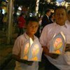 Displaced Colombians light lanterns to show solidarity with those forced to flee their homes