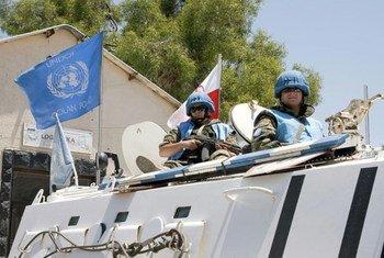 UNDOF peacekeepers on patrol in the Golan Heights.