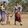 Two women refugees and their children in one of the camps on the Thailand-Myanmar border