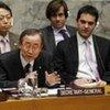 Secretary-General Ban Ki-moon at today's Security Council meeting on Gaza