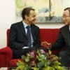 Secretary-General Ban Ki-moon (right) holds talks with José Luis Rodríguez Zapatero, Prime Minister of Spain