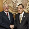 Secretary-General Ban Ki-moon with his Personal Envoy for Western Sahara, Christopher Ross